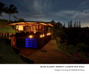 House in the dark with blue ion battery light