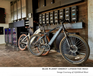 Bikes next to a battery system