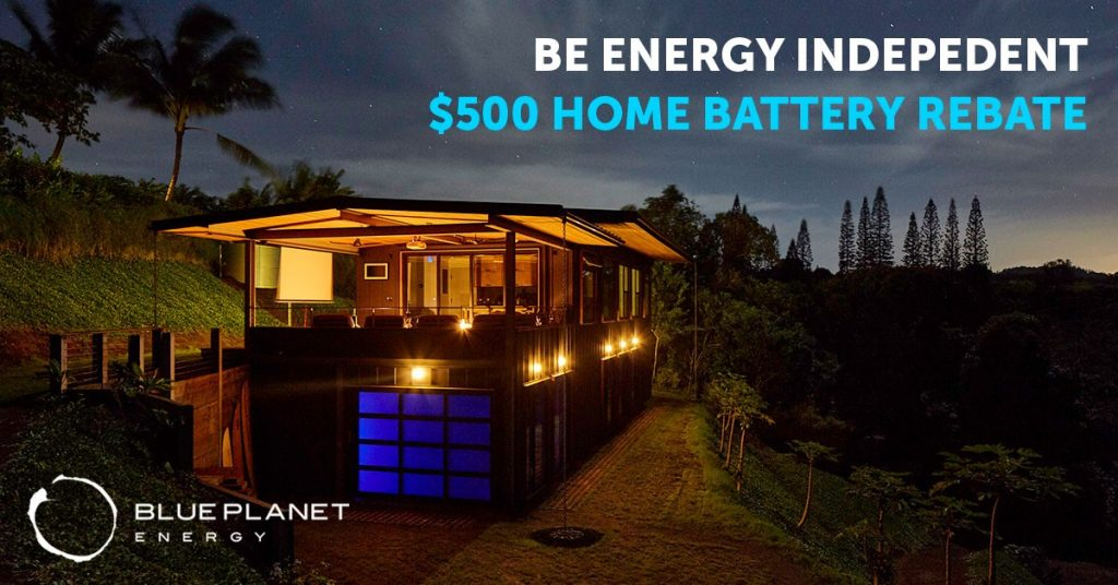 """image of house at night with text stating """"Be Energy Independent $500 Home Battery Rebate"""