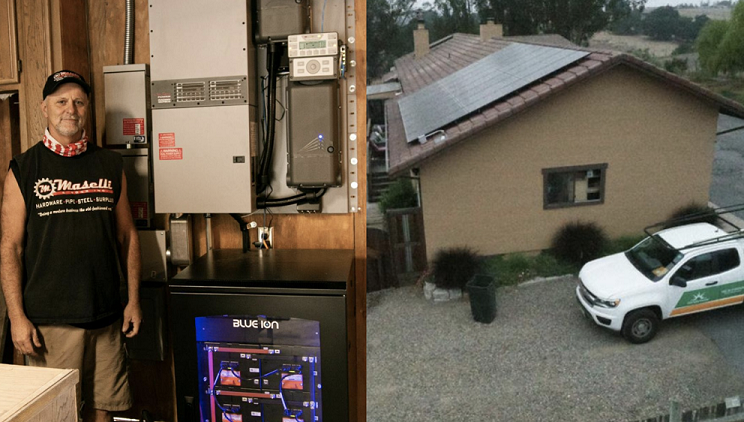 2 Images-  on the left man standing next to energy technology. On the right, solar panels on a home with a work truck parked next to the house.